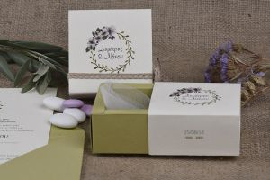 ROMANTIC FLOWER & OLIVE THEME FAVOR BOX