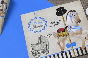 VINTAGE CAROUSEL STRIPE INVITATION